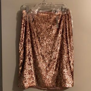 Rose gold sequin pencil skirt from J. Crew